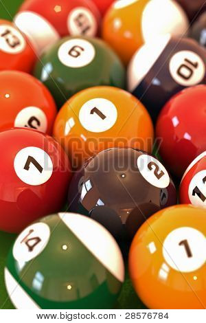 A lot of balls for billiards close-up, shallow depth of field