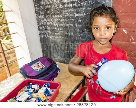Puduchery, India - December Circa, 2018. Unidentified Indian Little Girl With Shy Coy Expression In