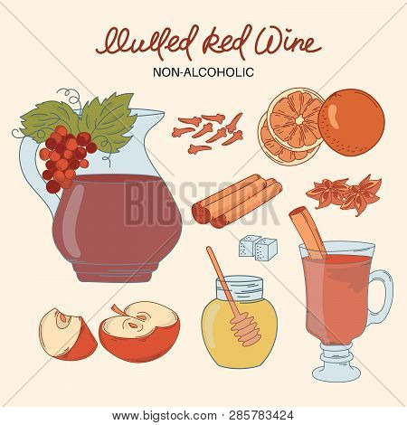 Non Alco Mulled Merry Christmas And New Year Dessert Vector Illustration Set For Print, Fabric And D