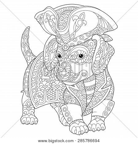 Coloring Page. Coloring Book. Anti Stress Colouring Picture With Dachshund Dog. Freehand Sketch Draw
