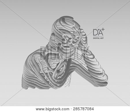 Man In A Thinker Pose. Miserable Depressed Men Sitting And Thinking. 3d Model Of Man. Psychology Or