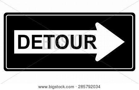 Illustration Of A Traffic Sign Indicating A Detour