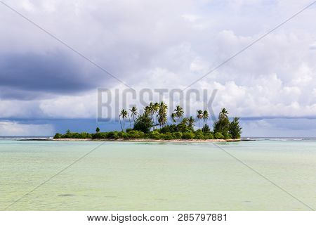 A Small Islet Motu Overgrown With Palm Forest Somewhere In The Lagoon Of South Tarawa Atoll In Bad C