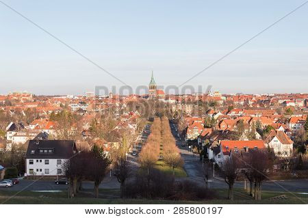View Of Hildesheim German City Church Rooftops Winter Clarity Daylight