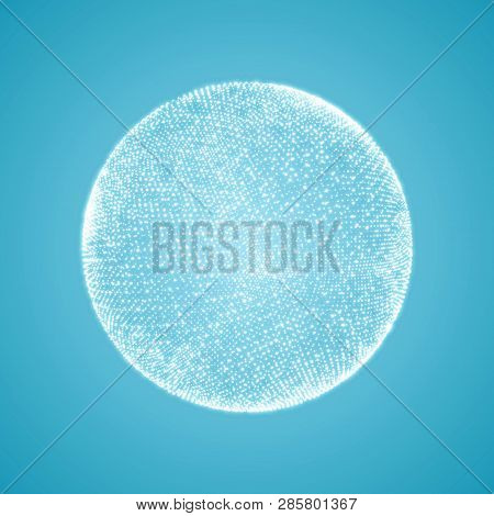 The Sphere Consisting Of Points. Global Digital Connections. Abstract Globe Grid. Wireframe Sphere I