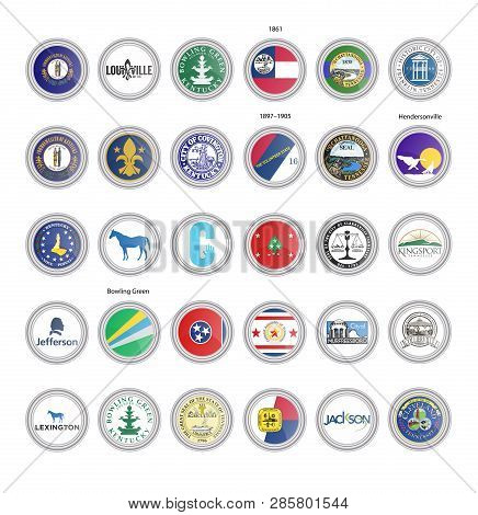 Set Of Vector Icons. Flags And Seals Of Kentucky And Tennessee States, Usa. 3d Illustration.