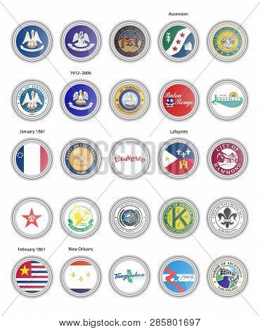 Set Of Vector Icons. Flags And Seals Of Louisiana State, Usa. 3d Illustration.