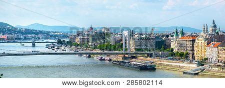 Bridges And Parliament Of Budapest At Summer Day