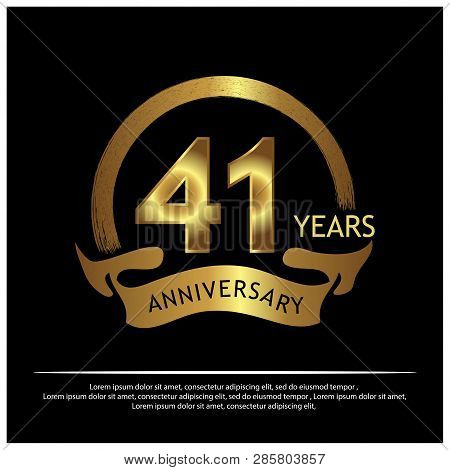 Forty One Years Anniversary Golden. Anniversary Template Design For Web, Game ,creative Poster, Book
