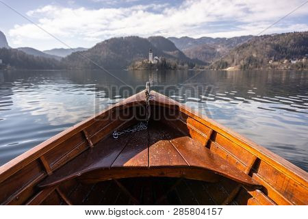 Wooden Rent Boat, End Of The Boat Facing Towards Lake Bled Island - Copy Space And Focus On Boat, To
