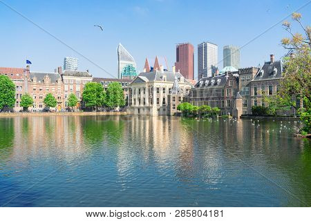 City Center Of Den Haag - Mauritshuis With Reflections In Pond, Netherlands