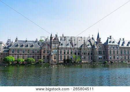 Facade Of Binnenhof - Dutch Parliament With Hofvijver Pond, The Hague, Holland