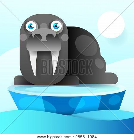 Walrus Rests On An Ice Floe-vector Illustration. Antarctic