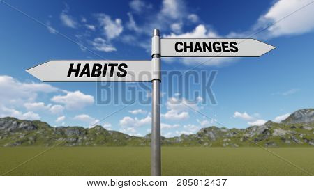 Way Choice Showing Strategy, Habits Changes, 3d Rendering