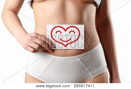 Women Health Concept. Closeup Healthy Female With Beautiful Slim Body Holding White Card With Happy