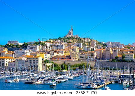 Marseille, France - August 11, 2018 - Marseille Embankment With Yachts And Boats In The Old Port And