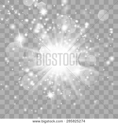 Glow Light Effect With Sparks And Golden Stars Shine With Special Light.white Glowing Light. Star Li