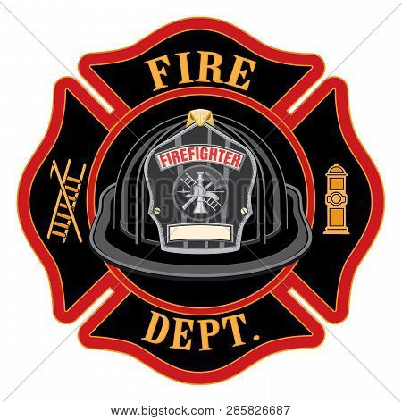 Fire Department Cross Black Helmet Is An Illustration Of A Fireman Or Firefighter Maltese Cross Embl