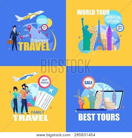 Flat Banner Set Business Travel.special Offer 30 50 Percent Off. World Tour. Best Tours. Family Trav