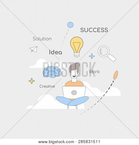 Square Flat Banner Solution Success Work Idea Creative Freelance Work. Young Designer Is Ready And C