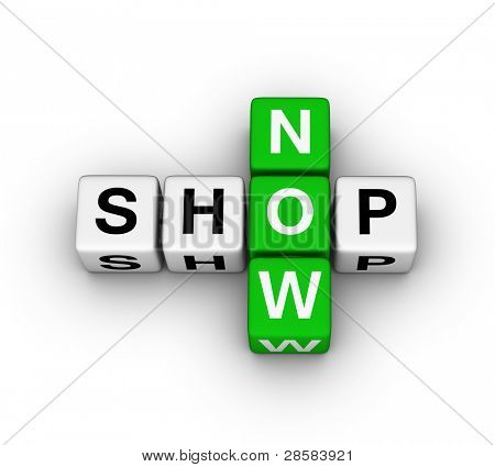 shop now label for online store
