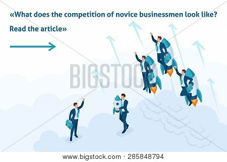 Isometric Bright Template Banner Article Race For Leadership, Competition Of Young Successful Busine