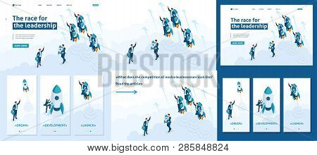 Set Template Article, Landing Page, App Design, Isometric Race For Leadership, Competition Of Young