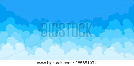 Cloud Flat Background. Cartoon Blue Sky Pattern Abstract Cloudy Frame Cloudy Summer Poster Scene. Ve