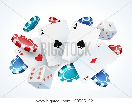 Playing Cards Chips Dice. Casino Poker Gambling Realistic 3d Falling Cards And Chips Isolated On Whi