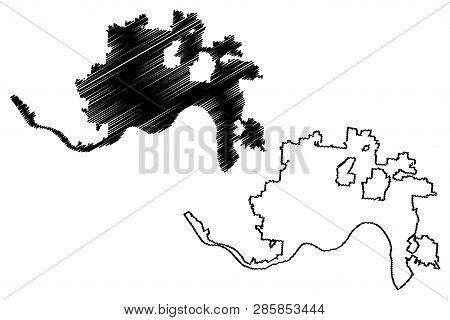 Cincinnati City (united States Cities, United States Of America, Usa City) Map Vector Illustration,