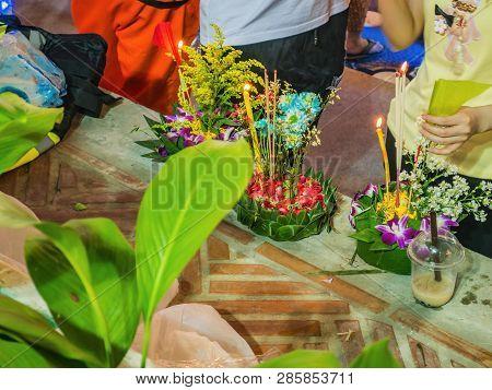 Unacquainted People Come To Visit Loi Krathong Festival On Khlong Ong Ang Canal At Bangkok City Thai