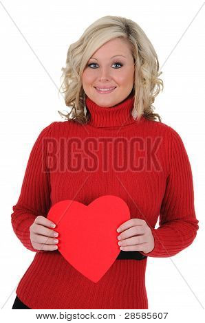 Young Woman Holding A Paper Heart 06