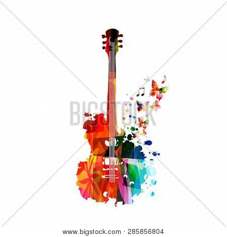 Colorful Guitar With Music Notes Isolated Vector Illustration Design. Music Background. Music Instru