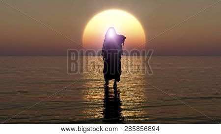 Jesus walks on water, Miracles of Jesus Christ,The prophet of God, Jesus coming from heaven in the apocalypse evening, 3D Rendering, 3D Illustration