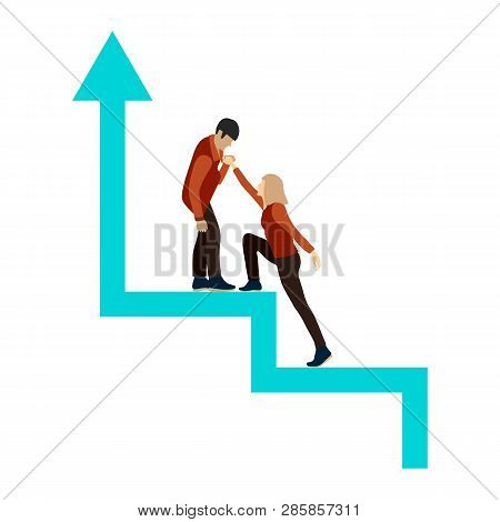 Man And Woman In Full Growth On The Success Stairs. Stylized Career Ladder. Guy Helps Girl To Climb