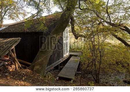 Copenhagen, Denmark - October 2018: Small Cabin In The Forest, Near Freetown Christiania, A Self-pro