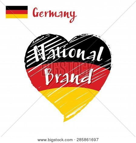 Vector Flag Heart Of Germany, National Brand. Germany Flag In Shape Of Heart, Pencil Strokes Drawing