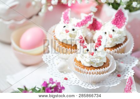 Bunny Cupcakes On A White Cake Stand. Easter Dessert