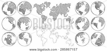Sketch Map. Hand Drawn Earth Globe, Drawing World Maps And Globes Sketches Isolated Vector Illustrat