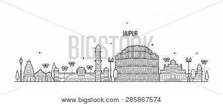 Jaipur Skyline Rajasthan India City Vector Linear