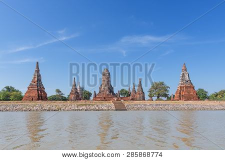View From The River To The Buddhist Temple Wat Chaiwatthanaram In Ayuthaya - A Unesco World Heritage