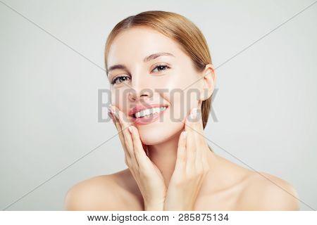 Cheerful Model Girl. Pretty Woman Face Closeup. Clear Skin, Cute Smile