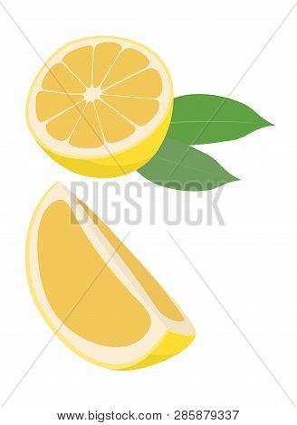 Lemon Fruit With Leaf Vector Illustration On White Background. Citrus Fruit. The Half Fruit And Cut
