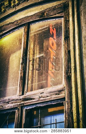 Old Window With Reflective Inscription Hotel, Nitra, Slovakia. Architectural Scene. Analog Photo Fil