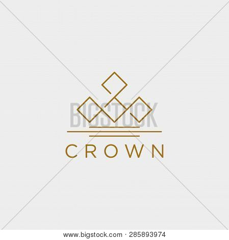 Crown Elegant Line Logo Template Vector Illustration Icon Element