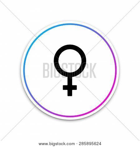 Female Gender Symbol Icon Isolated On White Background. Venus Symbol. The Symbol For A Female Organi