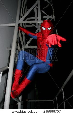 Kiev, Ukraine, 08.09.2008 A Person In A Costume Of Spiderman On The Stairs