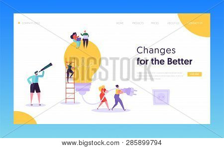 Teamwork Brainstorming Idea Concept Landing Page. Manager Remote Work, Searching For New Idea With B