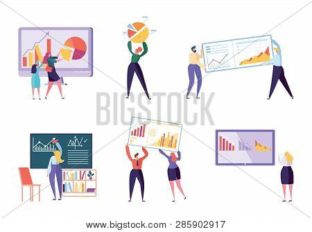 Different Character Business Analyst Set. People Make Chart And Analyzing Business Data. Flat Vector