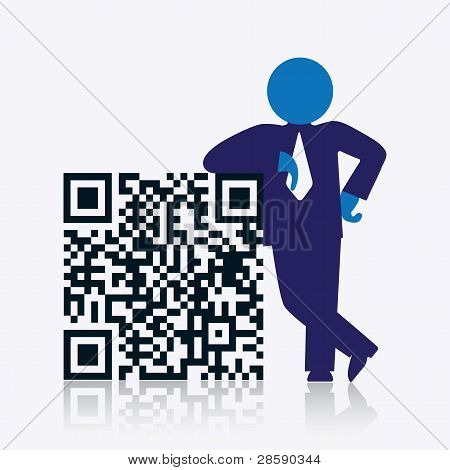 Qr Code With Savvy Businessman